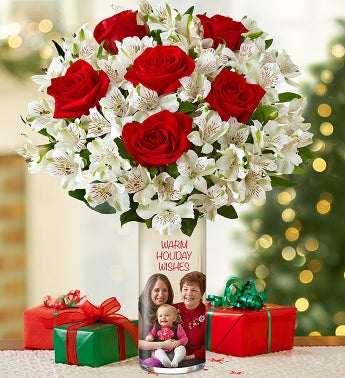 Personalized Vase with Red Rose & Peruvian Lily