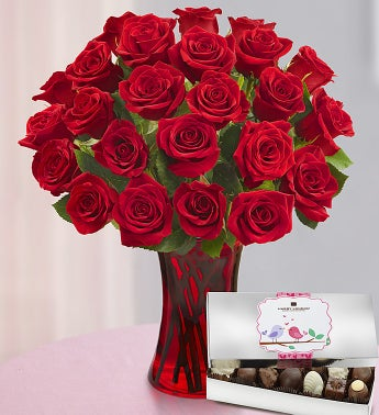 Romantic Red Roses with Chocolate, 12-24 Stems