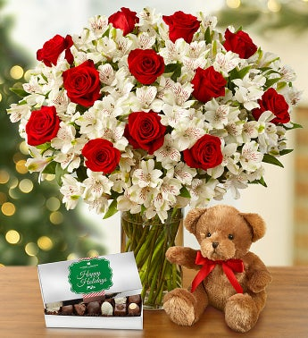 Glad Tidings Rose & Lily with Bear & Chocolate