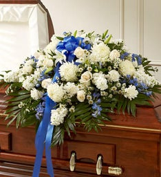 Cherished Memories Half Casket Cover-Blue &White