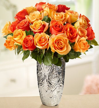 Orange Sorbet Roses, 24 Stems