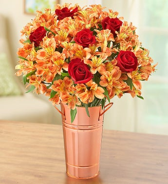 Fall Rose and Peruvian Lily + Free Vase