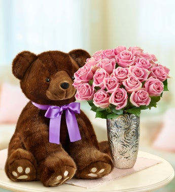 Oversized Sable Bear with Pink Roses