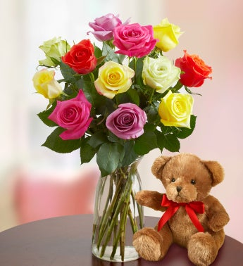 Christmas Lights Roses with Free Vase and Bear