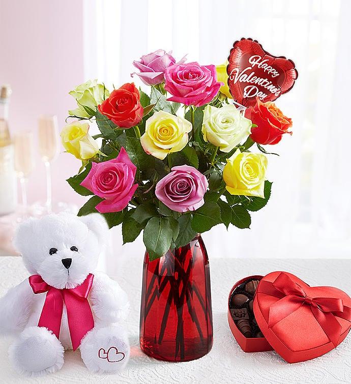 One Dozen Assorted Valentineu0027s Day Roses