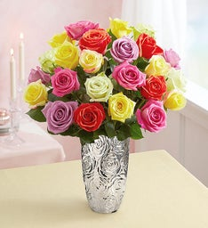 Two Dozen Assorted Roses + Free Vase