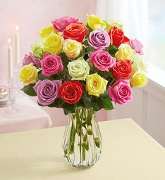 Assorted Roses: Buy 12, Get 12 Free + Free Vase