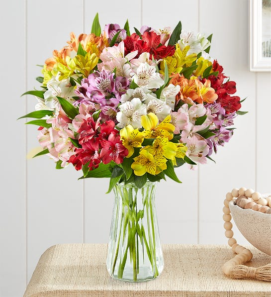 Peruvian Lilies 100 Blooms with Clear Vase