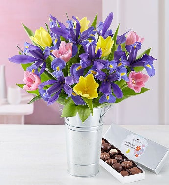Fanciful Spring Tulip & Iris Bouquet