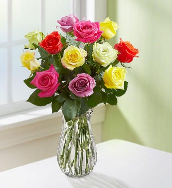 One Dozen Assorted Roses for Mothers Day