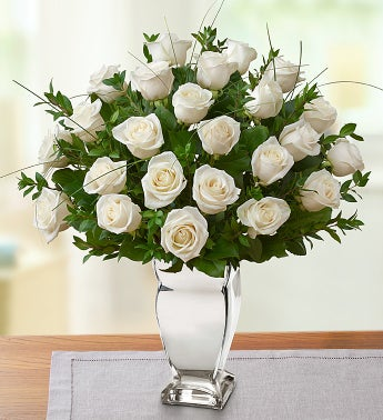Premium Long Stem White Roses in Silver Vase