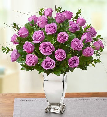 Premium Long Stem Purple Roses in Silver Vase