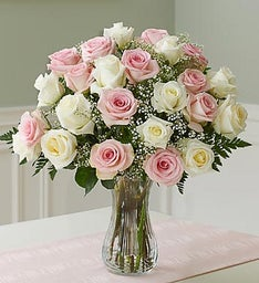 Two Dozen Pink & White Roses