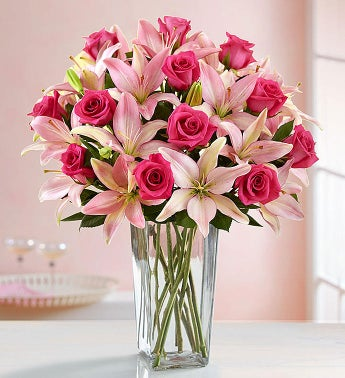 Magnificent Pink Rose & Lily Bouquet + Free Vase
