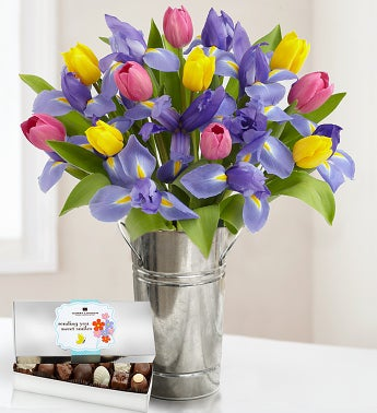 Fanciful Tulip and Iris Bouquet + Free  Vase