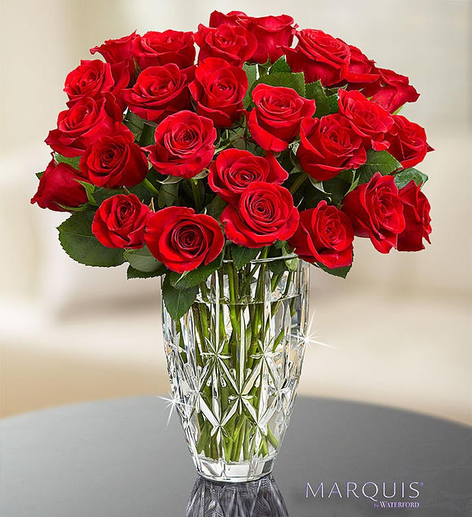Red Roses in Marquis by Waterford® Vase