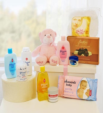 New Born Baby Gift Basket Girl