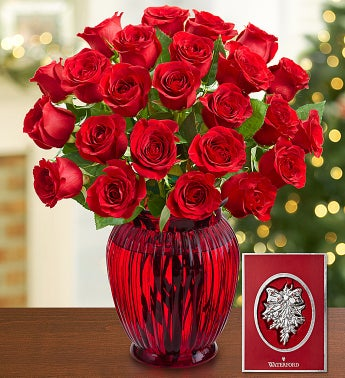 Red Roses with Waterford® Ornament, 12-24 Stems