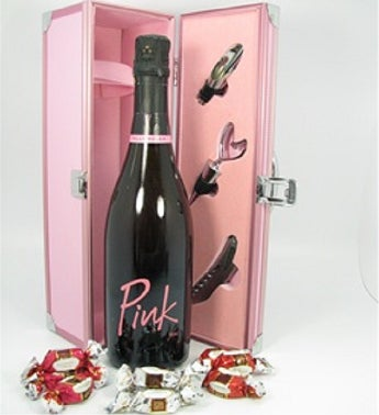 Pink Sparkling Wine & Chocolates Gift Box In Pink