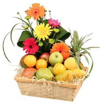 Fresh Fruit and Flower Basket