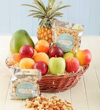 Basket of Fresh Fruit and Nuts