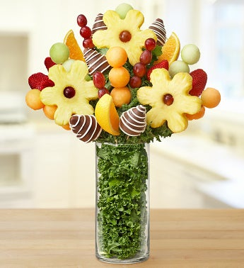 Personalized Vase with Fruit Arrangement - Daisies