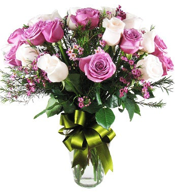 Purple and White Roses Bouquet