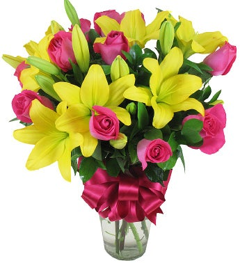 Hot Pink Roses and Yellow Lilies