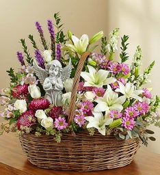 Heavenly Angel™ Lavender and White Basket