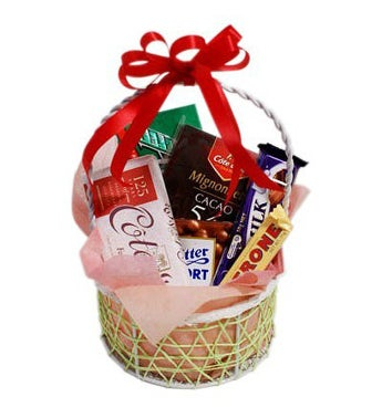 Assorted Chocolates in a Small Basket