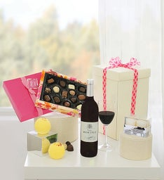 Mom's Treat Box with Red Wine