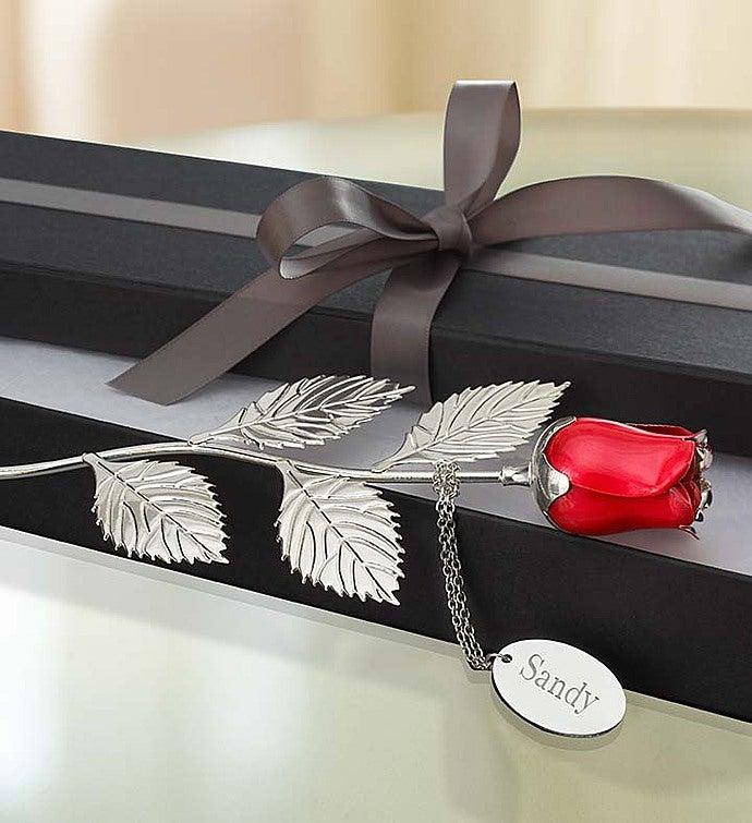 Gravé rose rouge autoportante Silver palted Rose Rouge Cadeau