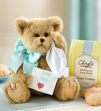 Bearington Beary Blue Miss You Bear and Cookies