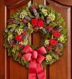 Preserved Holiday Rose Wreath - 22""