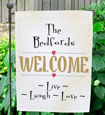Personalized Live, Laugh, Love Garden Flag