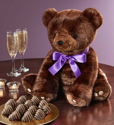 Luxury Sable Bear with Chocolate Covered Strawberries