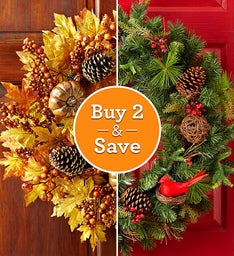 Fall and Christmas Wreath Set