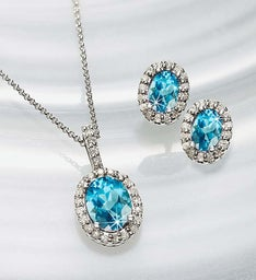 Blue Topaz & Diamond Pendant and Earring Set