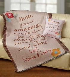 Personalized Artisan Pillow & Blanket for Mom