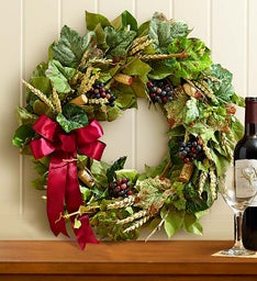 Preserved Vineyard Wine Cork Wreath - 18""