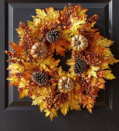 Pumpkins and Pinecones Autumn Wreath- 24