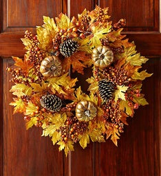 Autumn Faux Pumpkin Wreath - 24""