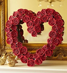 Faux Red Rose Heart Remembrance Wreath - 16""