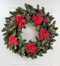 Holiday Poinsettia Wreath - 24""