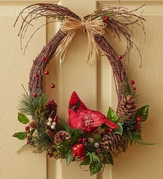 Faux Woodland Cardinal Wreath - 18""