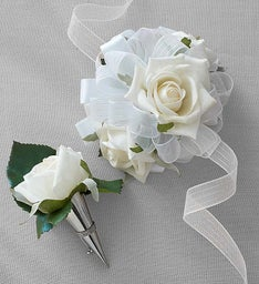 Keepsake Faux White Rose Corsage and Boutonniere