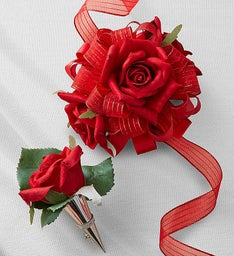 Keepsake Faux Red Rose Corsage and Boutonniere