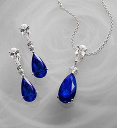 CRISLU Sapphire Pendant and Earrings