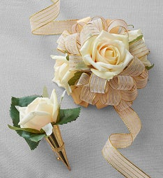 Keepsake Faux Cream Rose Corsage and Boutonniere