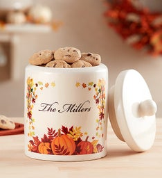 Personalized Harvest Cookie Jar with Cookies